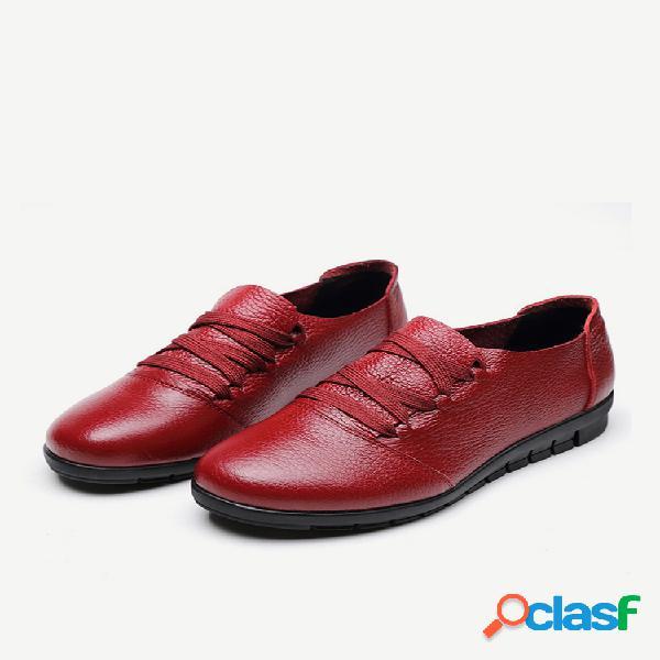 Mulheres non slip couro genuíno lace up toe flat shoes