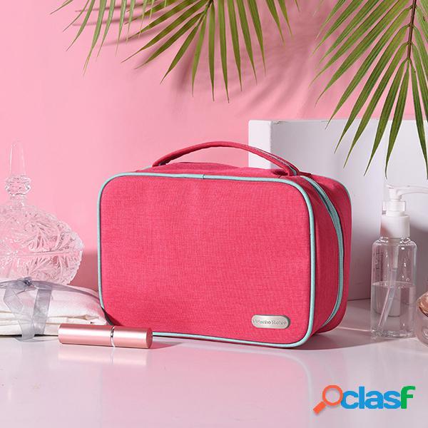 Mulheres nylon à prova d 'água cosméticos bolsa viagem sólida lavar bolsa grande capacidade de armazenamento bolsa