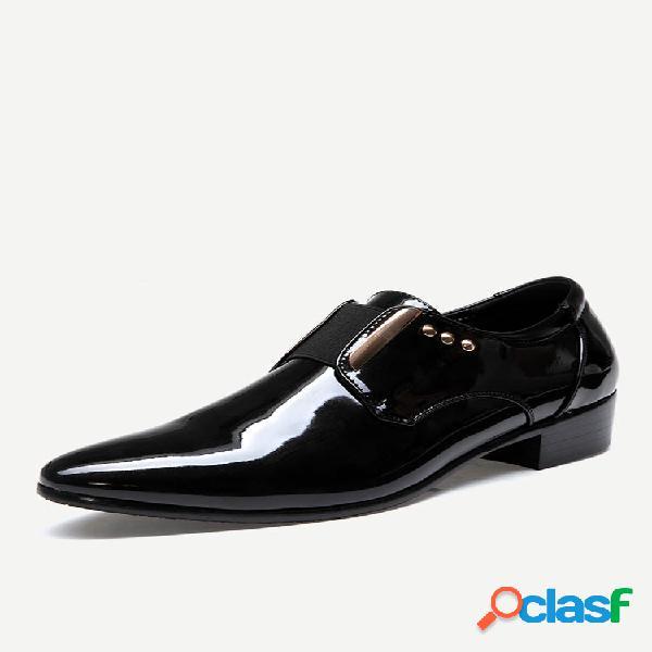 Masculino classic bico fino elástico banda calçado formal formal