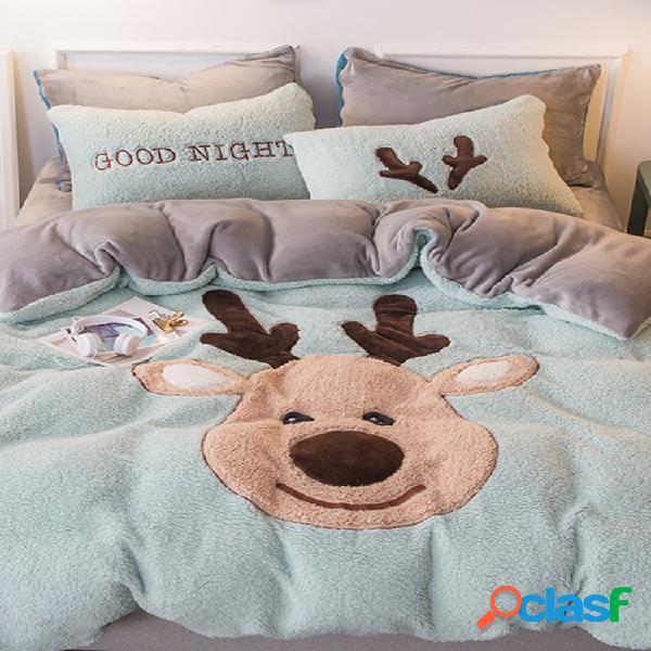 Conjunto de roupa de cama 4 unidades shearling cartoon alce elefante touro dinossauro coelho colcha de edredon