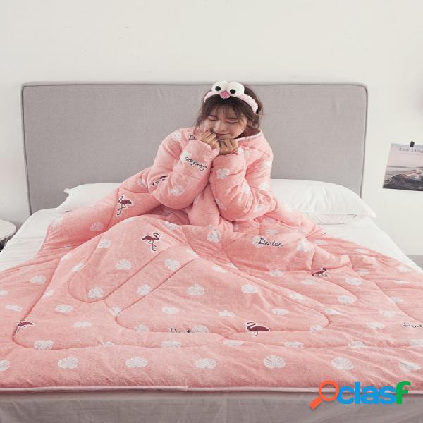 120 * 160/150 * 200cm edredão preguiçoso com mangas de inverno edredão multifuncional para vestir e manta de sofá cama