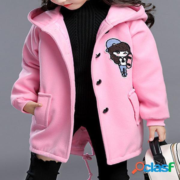 Casaco de mistura de lã com capuz da menina dos desenhos animados padrão crianças casaco