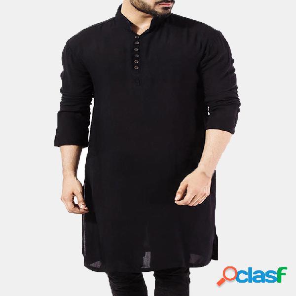 Masculino pathani kurta pijama indiano camiseta longa de algodão étnico terno sólido outono manga longa top