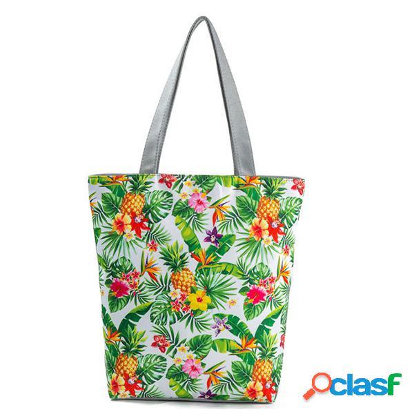 Mulheres canvas print casual tote handbag grande capacidade ombro bolsa