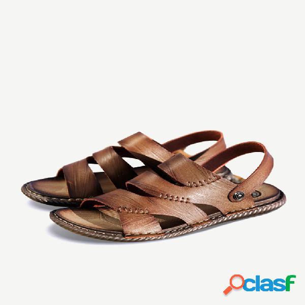 Homens de couro de microfibra oco out sandália chinelo respirável praia sandálias