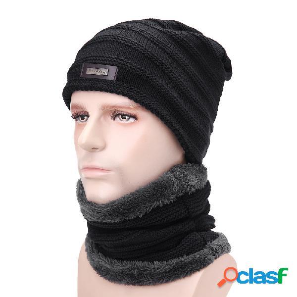Mens de lã de veludo malha chapéu cachecol grosso inverno grosso do vintage casual ear neck quente cachecol conjunto beanie