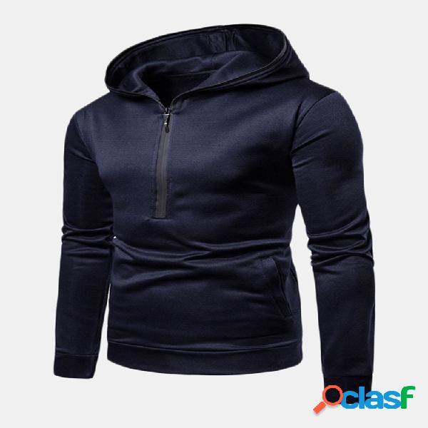 Mens respirável peito zip up com capuz cor sólida casual esporte em execução hoodies tops
