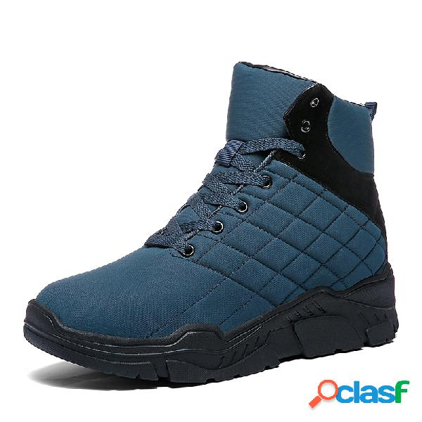 Homens impermeável pano quente forrado lace up casual ankle boots