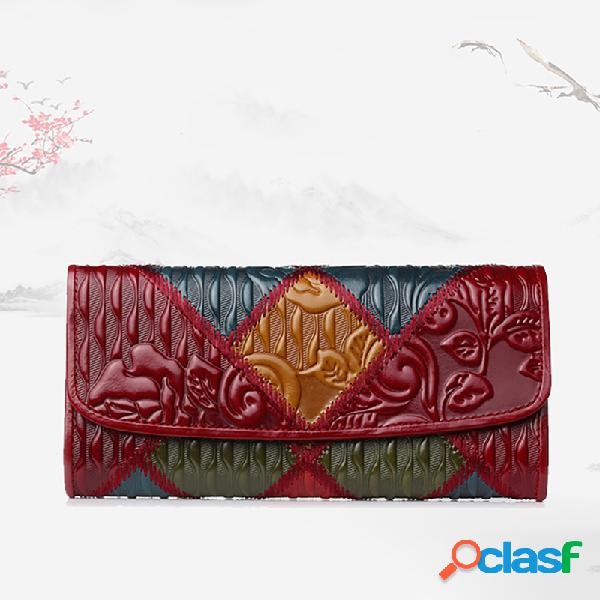 Mulheres patchwork telefone bolsa óleo cera couro genuíno carteira flor vintage