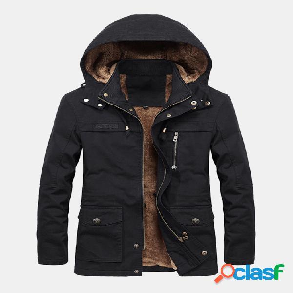 Plus jaqueta à prova de vento com vários bolsos laterais engrossar quente para homens