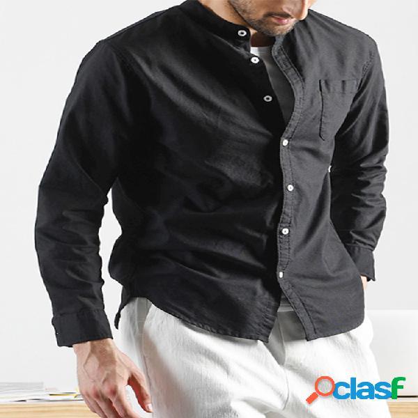 Moda masculina breve manga longa gola cor sólida camisas casuais
