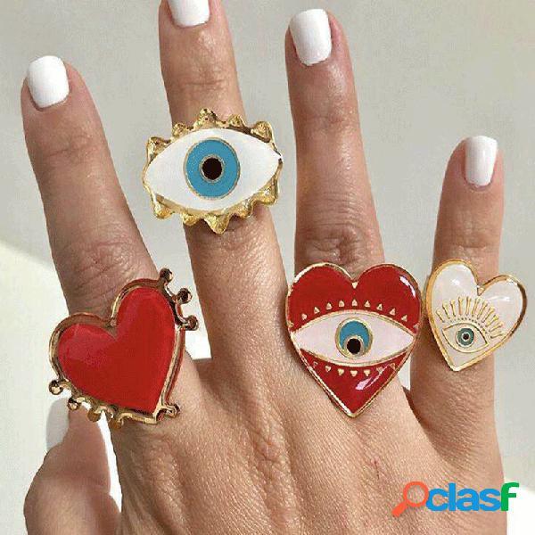 Olho do diabo da moda anel de dedo geométrica de metal pêssego coração anel aberto do punk jóias