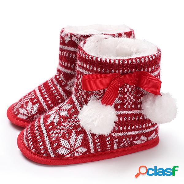 Baby girls christmas lace-up pom-pom decor comfy soft botas quentes de neve sapatos infantis