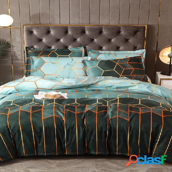 Conjunto de roupa de cama geométrica de 2/3 unidades, azul, preto dourado, conjunto de capa de edredom de poliéster e fronha queen size king size