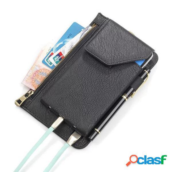 Bolsa de telefone 6,3 polegadas de carregador de bateria camada dupla capa de couro pu para homens