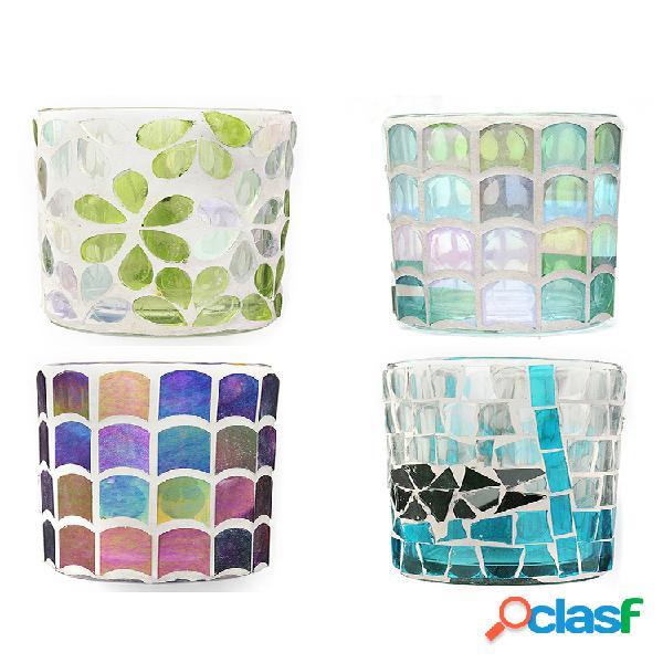 Chá suporte de vela leve em mosaico de vidro suporte de vela para festival de casamento decoração de bar doméstico