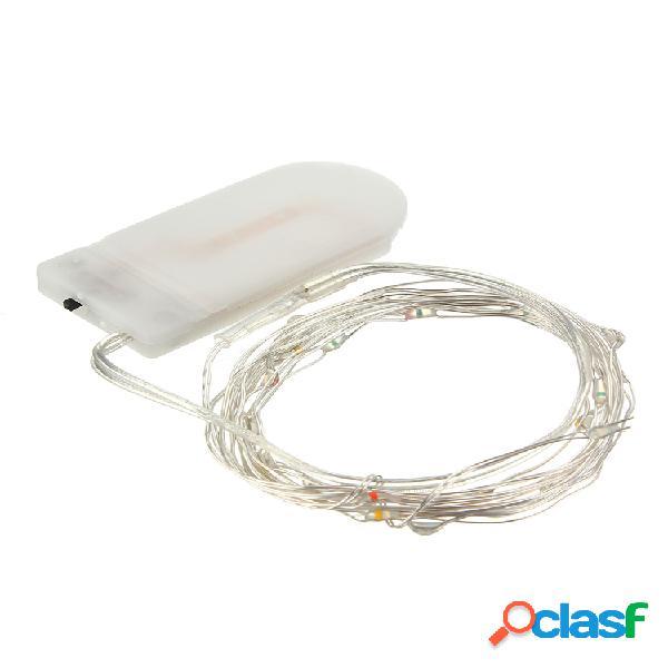 2m 20led botão celular bateria alimentado corrente prata cobre wire mini fairy lights party home decor