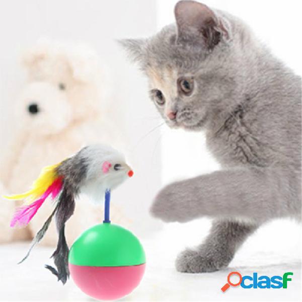 Brinquedo de penas para gato interativo brinquedo de pena fofo de rato brinquedos para gatos