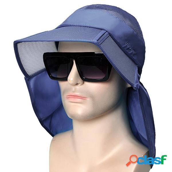 Chapéu de sol de verão fino respirável dobrável com aba larga de desporto anti-uv