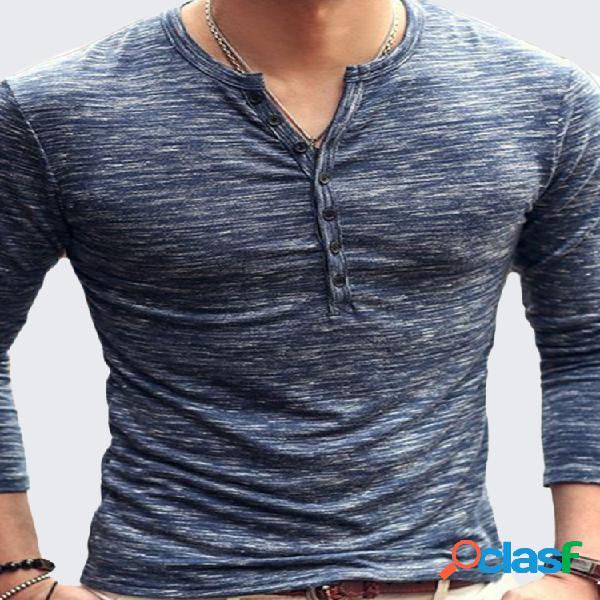 Camiseta masculina respirável de algodão casual botões design metade cardigan slim fit manga comprida tops