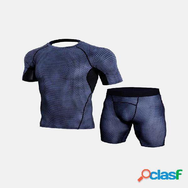 Pro conjunto esportivo secagem rápida alto elástico magro masculino