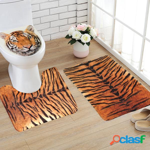 Tapete de toalete flannel tiger padrão theme banheiro tapete contour tapete antiderrapante tampa de banheiro cove 3 unidades / conjunto