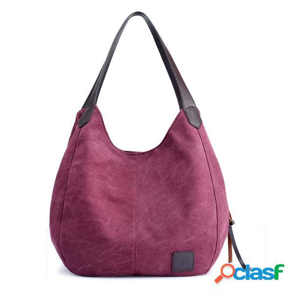 Bolsa vintage casual feminina de lona sacola de três camadas