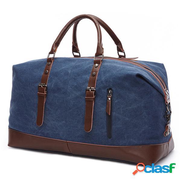 Lona com couro casual viagem embreagem bolsa crossbody bolsa para homens