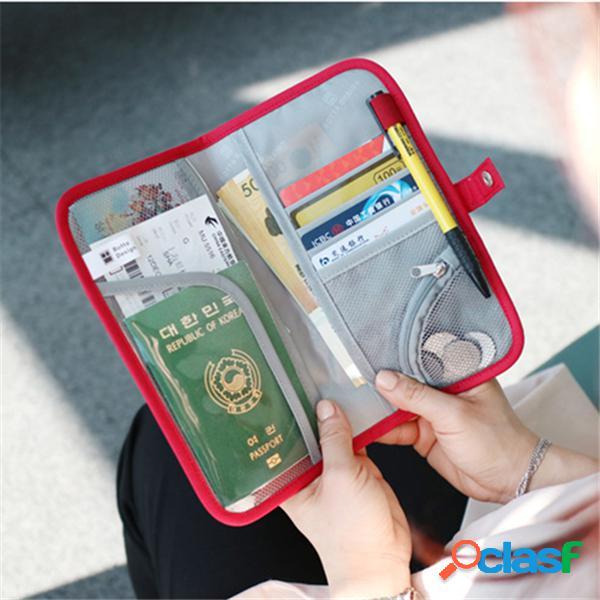 Carteira de armazenamento multifuncional capa para passaporte de viagem ipree® oxford impermeável
