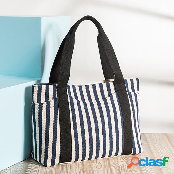 Lona durável bolsa listrada casual compras ombro de grande capacidade bolsa para mulheres