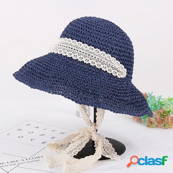 Mulheres verão elegante floppy praia pala chapéu largo brim uv proteção bucket cap