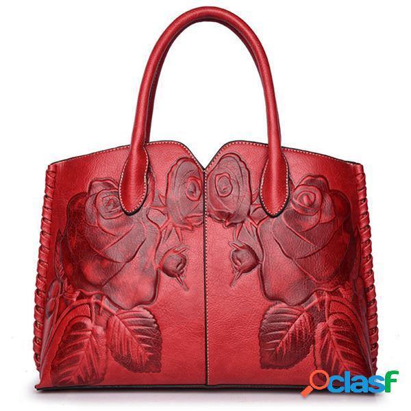 Bolsa retro pu couro peônia em relevo estilo chinês capacidade grande
