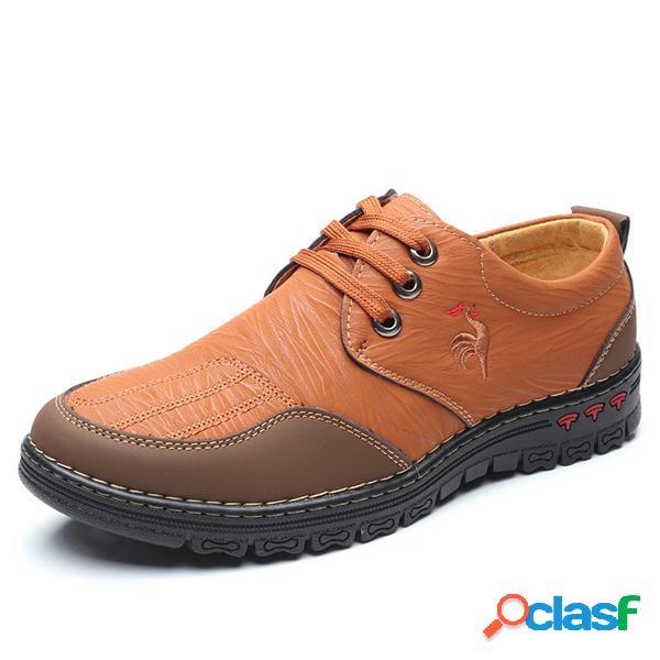 Homens comfy microfibra couro costura lace up calçados casuais