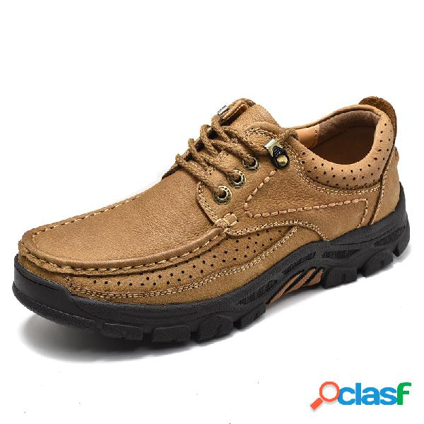 Homens respirável cow leather wear-resistant lace up casual shoes