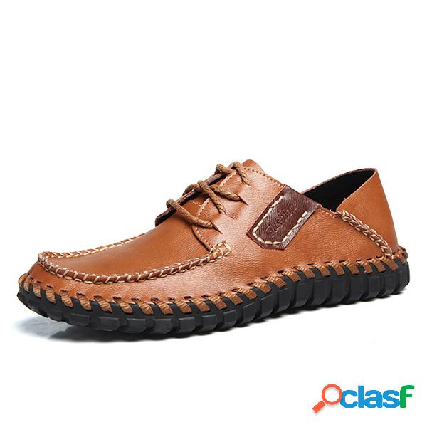 Homens soft hand stitching cow leather lace up casual shoes