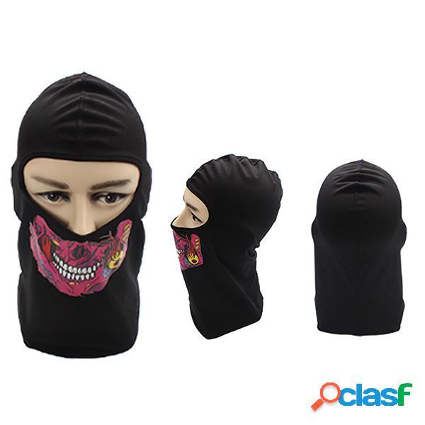 Lycra poliéster das mulheres dos homens caveira rosto proteção máscara rosto pescoço chapéu ao ar livre ciclismo sombrinha
