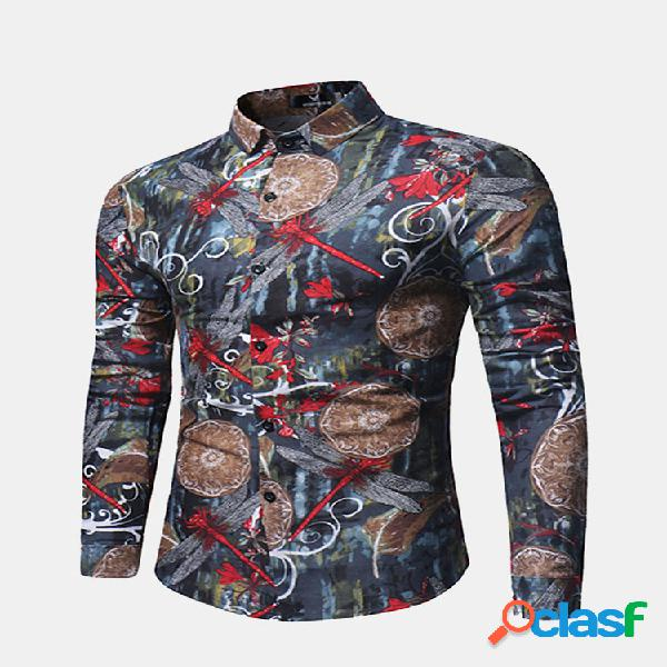 Manga comprida slim fit turn down collar libélula impressão camisa para homens