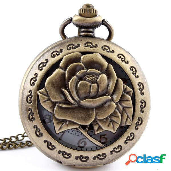 Steampunk 3d rose flower hollow antique pendant chain relógio de bolso de quartzo simples dial quartz