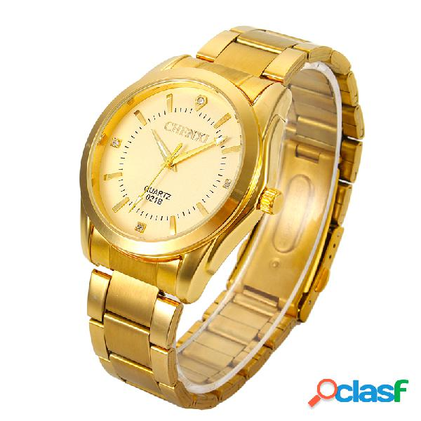Chenxi marca de luxo de aço inoxidável dos homens de ouro relógio de pulso de quartzo moda business sport watch