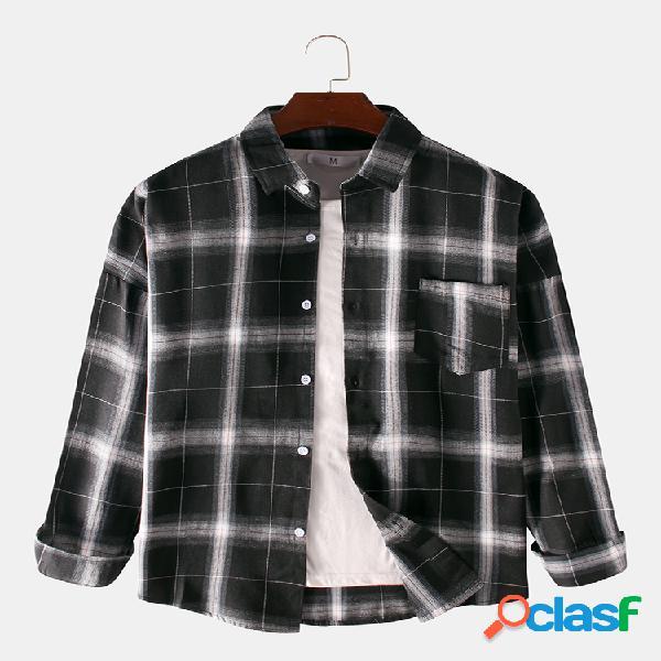 Mens plaid printed pocket turn down collar manga comprida camisas casuais