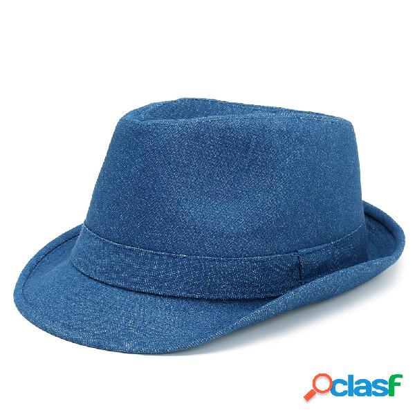 Mulheres homens unisex denim bucket cap chapéu de cowboy inglaterra estilo jazz chapéu protetor solar viseira chapéu