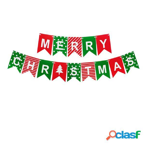 1 conjunto feliz natal letras banner pendurado rabo de andorinha puxar bandeira suprimentos de festa de natal de papel