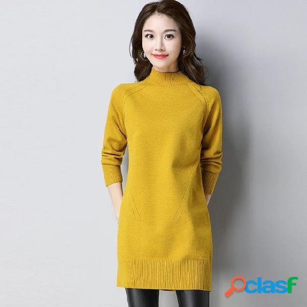 Camisola de gola alta cabeça solta das mulheres novas plus desgaste longo e grosso de fundo camisa