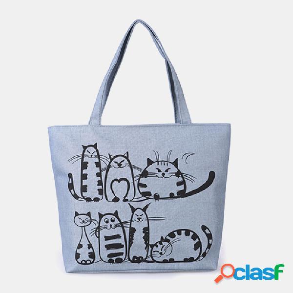 Mulheres gato bonito padrão bolsas de grande capacidade de lazer sacos de ombro