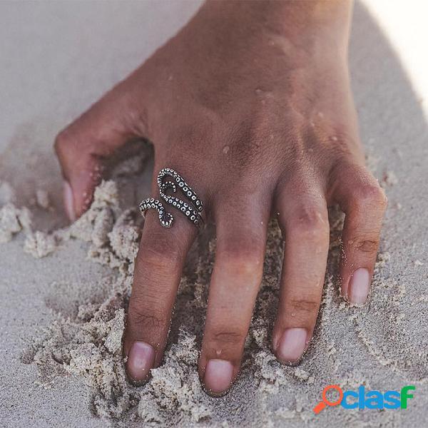 Anel de polvo geométrico do vintage personalidade abertura anéis de polvo ajustável jóias exageradas