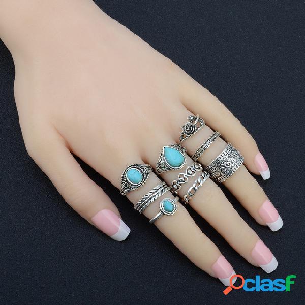 Bohemian peach coração anéis gota de água turquesa geometric stereoscopic rose ring set