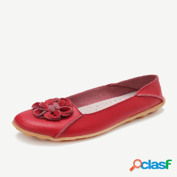 Couro da cor sólida da flor que costura sapatas lisas ocasionais confortáveis