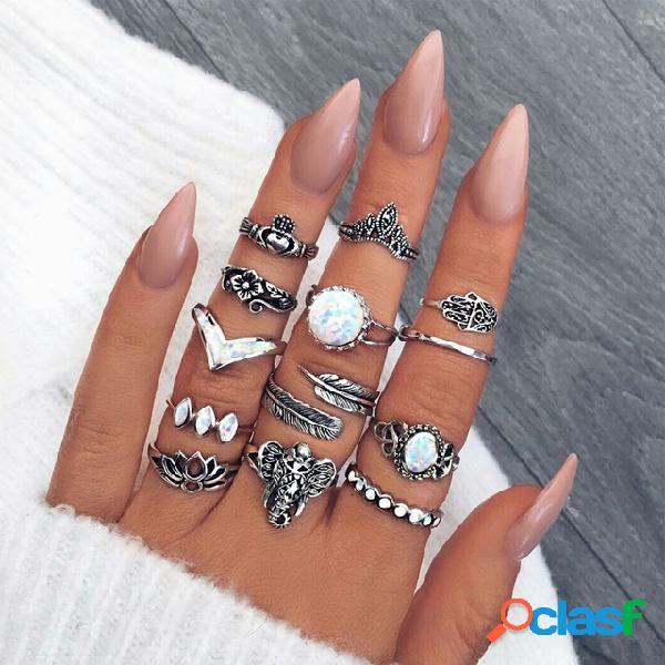 Flor a céu aberto do vintage esculpida anéis de palma geométrica elefante coroa conjunto de anéis jóias boêmia