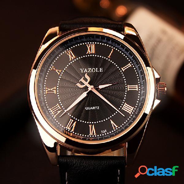 Negócios pequeno garfo dial relógio de quartzo couro impermeável relógio de cintura para homens