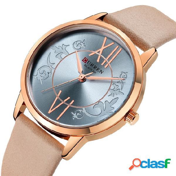 Relógio ocasional de quartzo do couro banda do relógio de pulso das mulheres do estilo ocasional